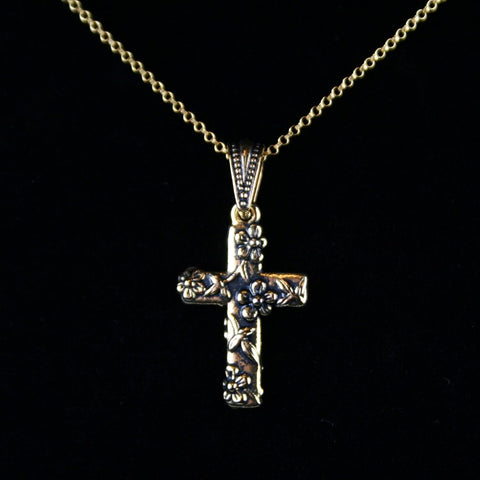 Antique Gold Floral Cross Pendant
