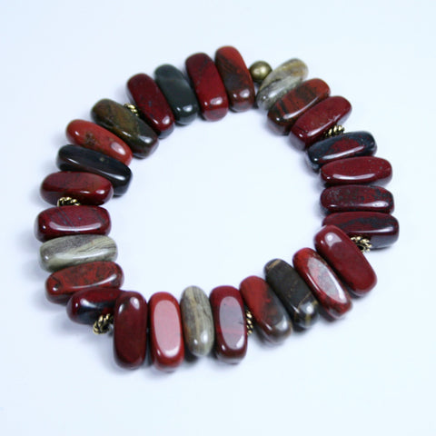 Men's Appletini Red Apple Jasper Beaded Gemstone Rectangular Stretch Bracelet with Antique Gold Twist Heishi Beads, Latex Free