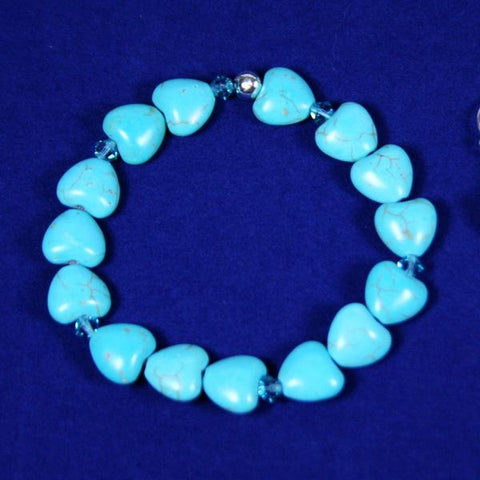 Aqua Blue Heart Beaded Gemstone Magnesite Stretch Bracelet with Swarovski Crystals- See in Set with Earrings