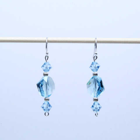 Aqua Cosmic Swarovski Crystals & Silver Earrings