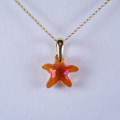 Orange Pink Starfish Pendant- Swarovski Faceted Crystal Starfish with Orange, Gold, Pink Shades and 14K Gold Filled Rolo Chain and Gold Plated EZ Hook & Eye Clasp