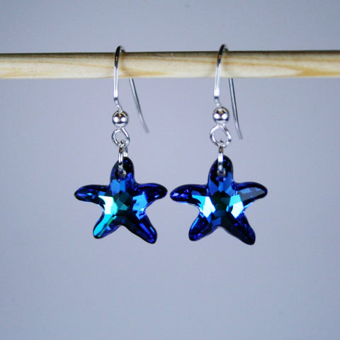 Bermuda Blue Starfish Crystal Earrings