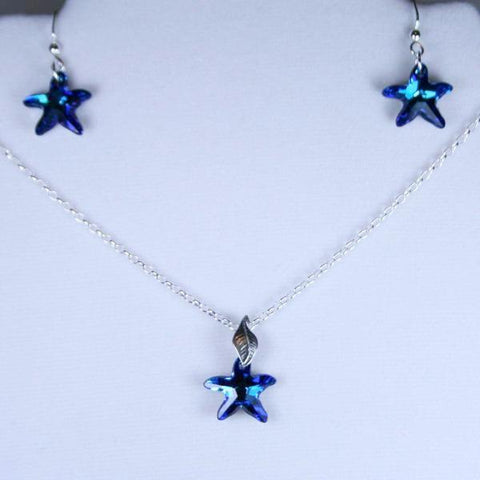 Bermuda Blue Starfish Swarovski Faceted Crystal Pendant Set with Earrings in 925 Sterling Silver Filled Bali Hook Ear Wires with Ball Ends- Earrings & Pendant also Separately Listed