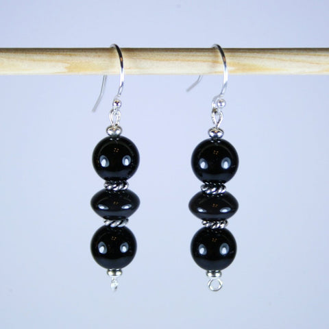Black on Black Agate Earrings