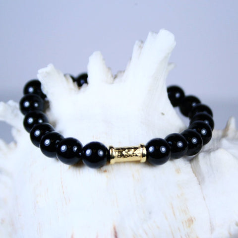 Black Agate Magic Stretch Bracelet with Gold Bar