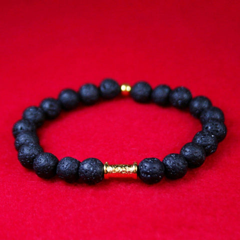 Black Lava Bead Hammered Gold Bar Stretch Bracelet