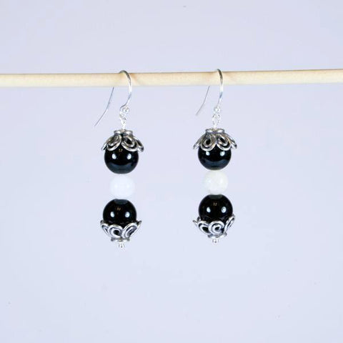 Black Agate & White Quartz Beaded Gemstone Earrings with Antique 925 Sterling Silver Floral Bead End Caps and Silver Filled Bali Hook Ear Wires with Ball Ends