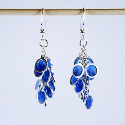 Blue Bubbles Drop Cluster Earrings with Sapphire Blue Coins in Silver Plated Frames and Hung in Clusters from 925 Sterling Silver Filled Fish Hook Ear Wires with 3mm Ball Ends