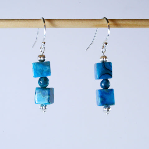 Crazy Blue Lace Agate Cube Earrings