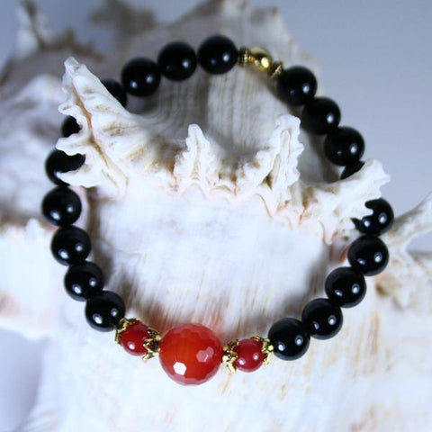 Men's  Red/Orange Faceted 12mm Carnelian and 8mm Black Agate Beaded Gemstone Stretch Bracelet with Antique Gold Plated Pewter Coiled Heishi Beads and Bead End Caps