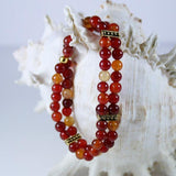 Red Jasper Janie Beaded Gemstone 3 Piece Jewelry Set in Red Jasper with Antique 14K Gold Filled Bead End Caps with Necklace, Drop Earrings and Double Strand Stretch Bracelet- Latex Free