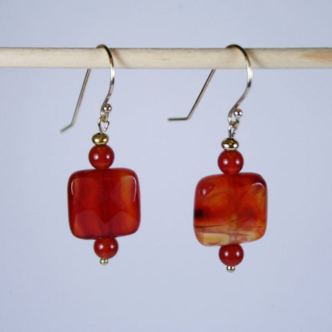 Carnelian Square Earrings
