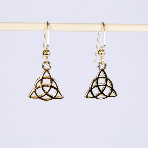 Gold Celtic Triangle Knot Earrings