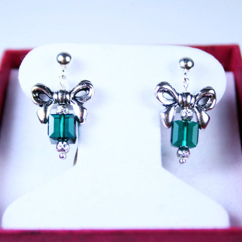 Christmas Silver Bow Green Crystal Post Earrings
