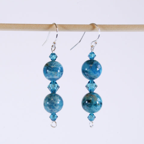 Crazy Blue Lace Agate & Crystal Earrings