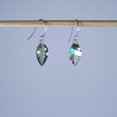 Crystal Paradise Earrings in Swarovski Faceted Crystal Paradise Shine Twist Briolette with 925 Sterling Silver Filled Bali Hook Ear Wires with Ball Ends- See Matching Crystal Pendant