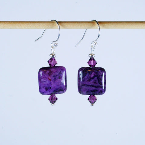 Purple Crazy Lace Agate Square Earrings