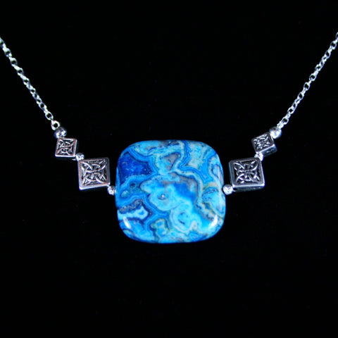 Crazy Blue Lace Agate Necklace/Pendant Chain