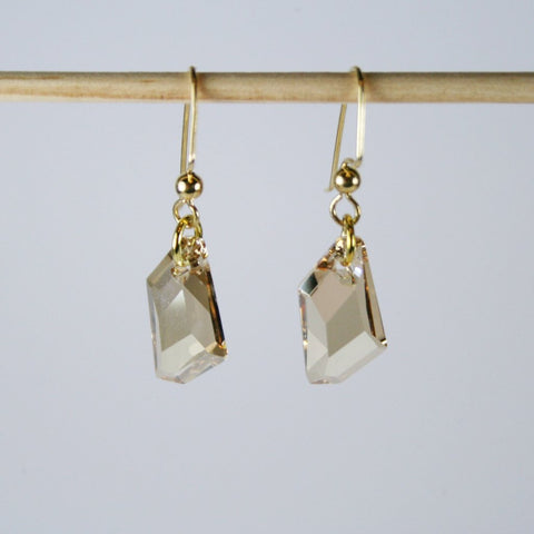 De-Art Crystal Golden Shadow Earrings