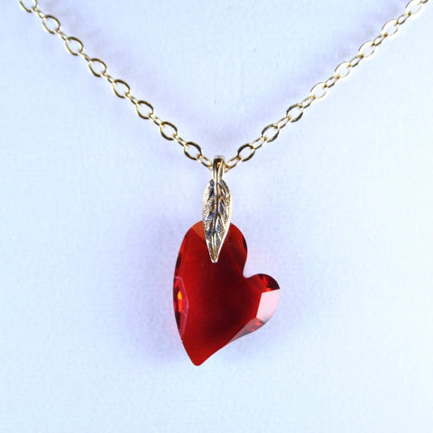 Devoted to You Red Swarovski Heart Pendant