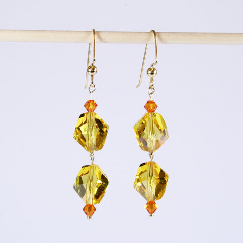 Double Swarovski Cosmic Crystal Dangle Earrings