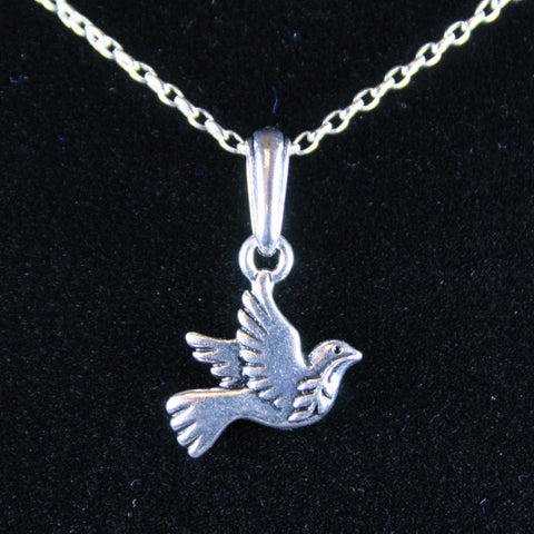 Silver Dove of Peace Pendant and Oval Chain