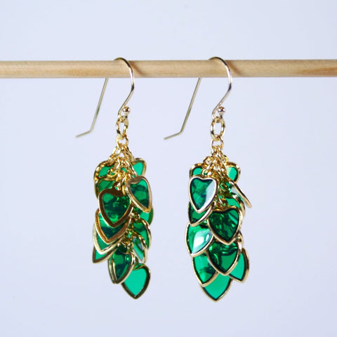 Emerald Green Heart Cluster Earrings with Gold