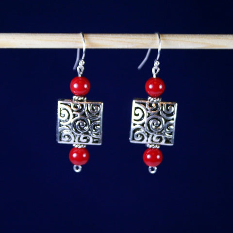 Filigree Square Red Bamboo Coral Earrings
