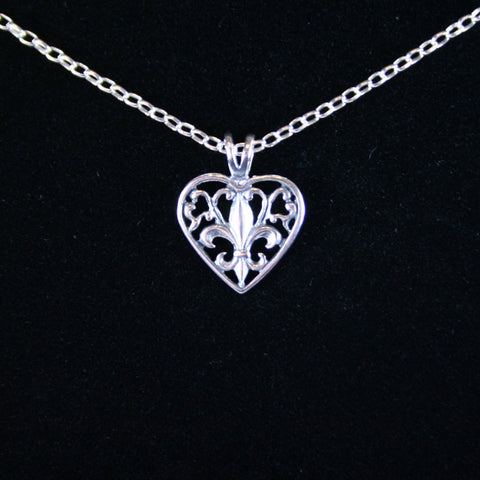Fleur de Lis Open Heart Pendant in Sterling Silver