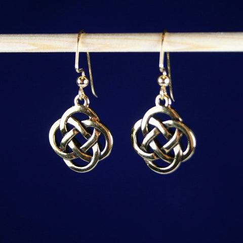 Antique Gold Plated Pewter Celtic Knot Earrings