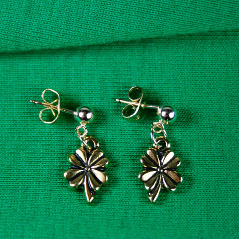 Antique Gold Cloverleaf Post Earrings