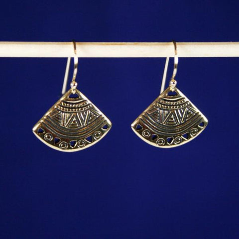 Antique Gold Plated Pewter Ethnic Fan Drop Earrings with 14K Gold Filled Bali Hook Ear Wires with Ball Ends -See Matching Pendant with Gold Chain