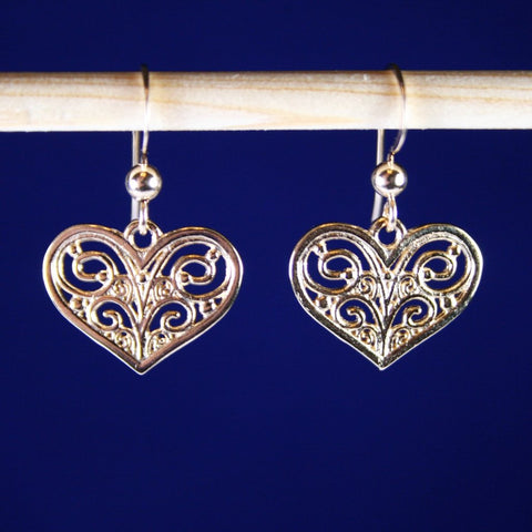 Gold Filigree Open-Cut Flat Heart Earrings
