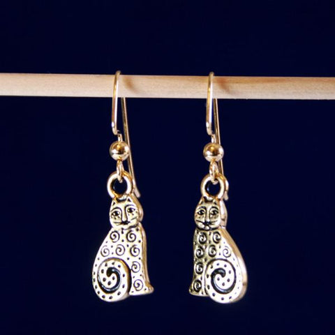 Spiral Cat Earrings in Antique 14K Gold Plated Pewter with 14K Gold Filled Bali Hook Ear Wires with Ball Ends- See Earring also in Silver