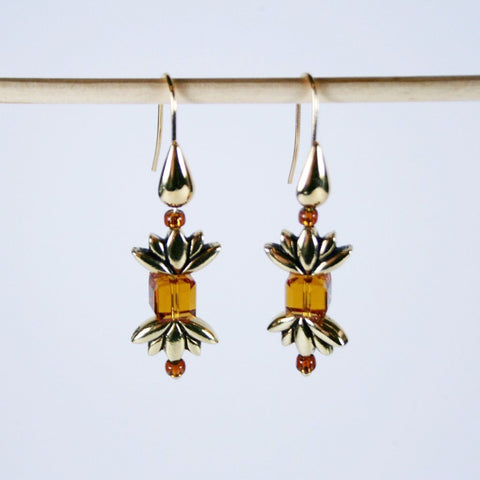 Antique Gold Lotus Earrings