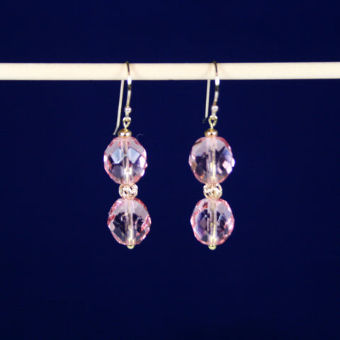 Golden Princess Swarovski Round Crystal Pink Earrings