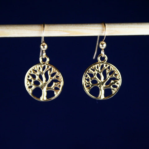Gold Tree of Life Earrings with French Wires