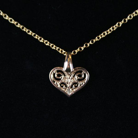 Gold Filigree Heart Pendant in Gold Plated Brass with Cut-Out Detailing and 14K Gold Filled Double Cable Chain with EZ Hook and Eye Clasp- See Matching Earrings