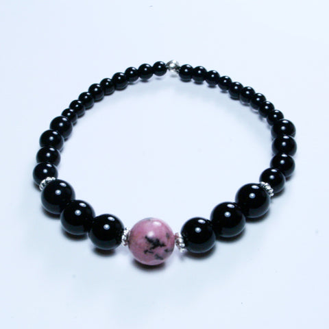 Mother Daughter Black Agate Bracelets