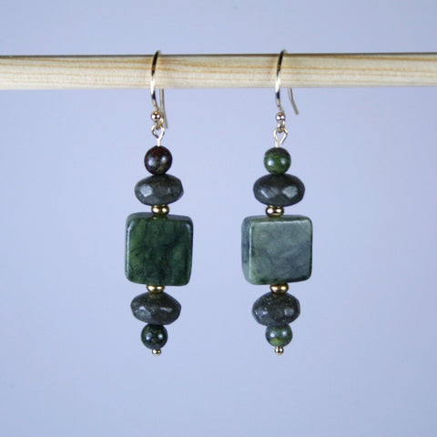 Jungle Green Jasper Earrings