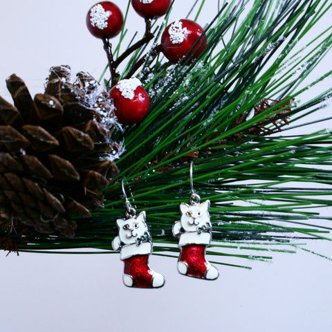 Christmas Kitty Earrings with Darling Red & White Enameled Cat in Stocking and 925 Sterling Silver Filled Bali Hook Ear Wires with Ball Ends