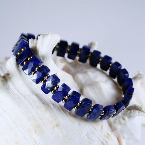 Lapis Lazuli Faceted Beaded Gemstone Double Drilled Stretch Bracelet in Rectangles with 14K Gold Plated Roundel Beads