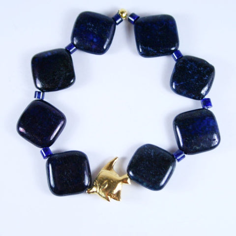 Lapis Gold Fish Bracelet