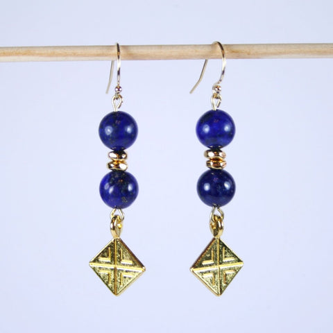 Lapis Lazuli Gold Square Earrings