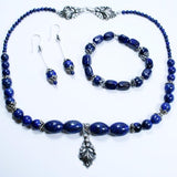 "Xactly Lapis Lazuli Beaded Gemstone 3 Piece Jewelry Set including Necklace, Latex Free Stretch Bracelet and Choice of 2 Earrings with 925 Sterling Silver Filled Bali Hook Ear Wires with Ball Ends. Gorgeous Silver ""X"" Beads with Lapis Lazuli Cubes"