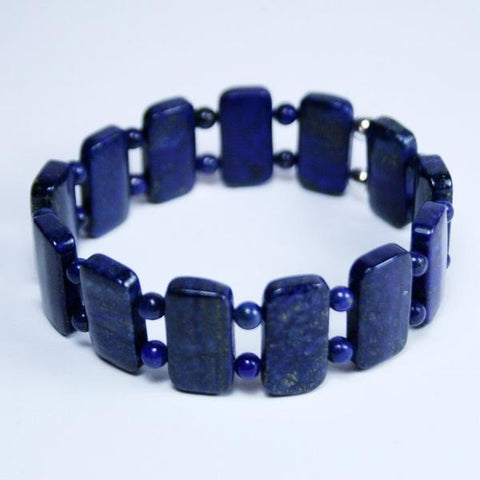 Deep Blue Lapis Lazuli Beaded Gemstone Double Drilled Stretch Bracelet in 10 x 20mm Rectanglular Beads- See Numerous Matching Pieces