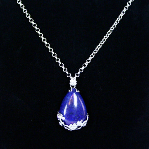 "Lapis & Silver Pear Pendant with 18"" Silver Plated Chain"
