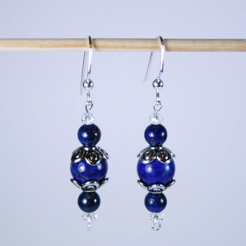 Lapis Lazuli Silver Floral Earrings