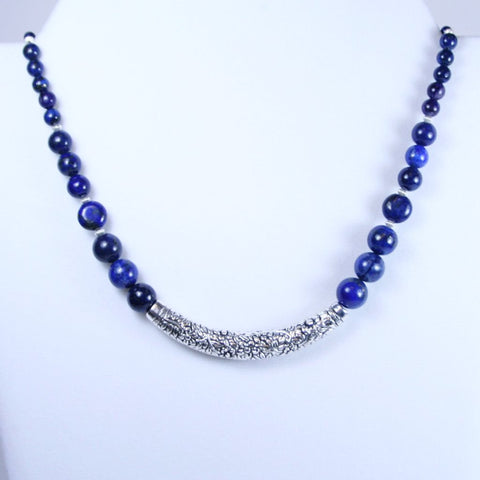 Lapis Lazuli Antique Silver Bar Floral Necklace