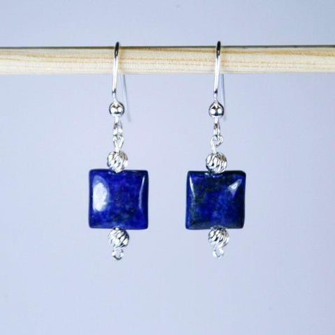 Lapis Lazuli Square Beaded Gemstone Earrings in Puffed Squares with 925 Sterling Silver Corrugated Beads and 925 Sterling Silver Filled Angular Hook Ear Wires with 3mm Ball Ends